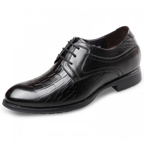 Cowhide Elevated Formal Shoes taller men shoes embossed hidden lift dress shoes