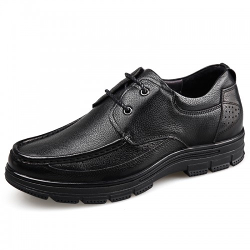 Low Top Elevator Business Shoes for Men Taller 2.4inch / 6cm Black Soft Cowhide Leather Casual Shoes