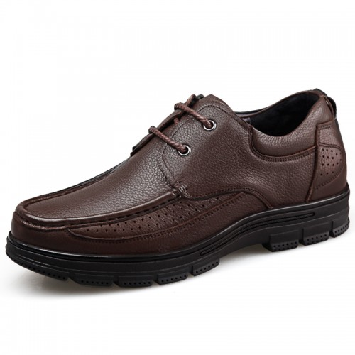 Low Top Elevator Business Men Shoes Height 2.4inch / 6cm Brown Soft Cowhide Leather Casual Shoes