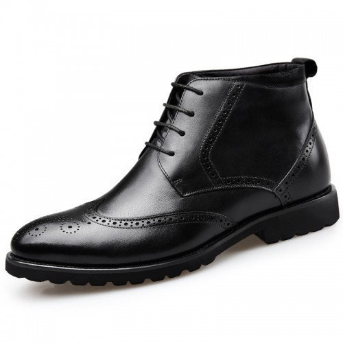 Black Brogue Elevator Dress Boot for Men Height 2.6inch / 6.5cm Wing Tip Formal Ankle Boots