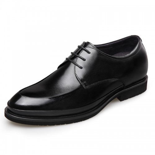 Lightweight Elevator Wedding Shoes for men Height 2.6inch / 6.5cm Black Glossy Leather Oxford