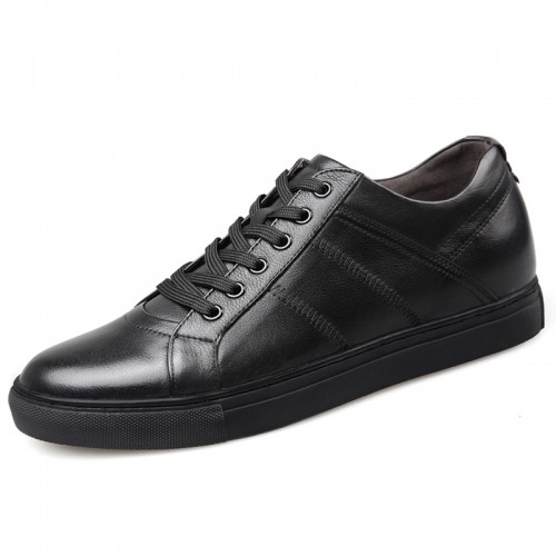 Premium Calfskin Elevator Skateboarding Shoes for Men Taller 2.6inch / 6.5cm Black Business Casual Shoes