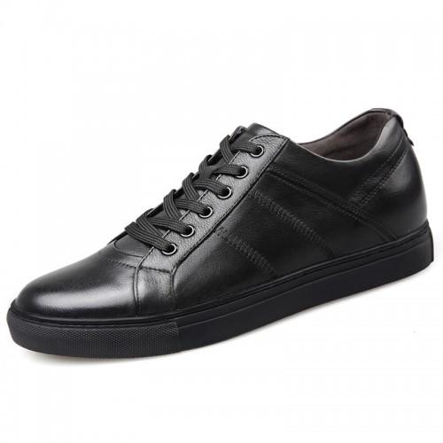Premium Calfskin Elevator Skateboarding Shoes for Men Taller 2.6inch / 6.5cm Black Business Casual Shoes