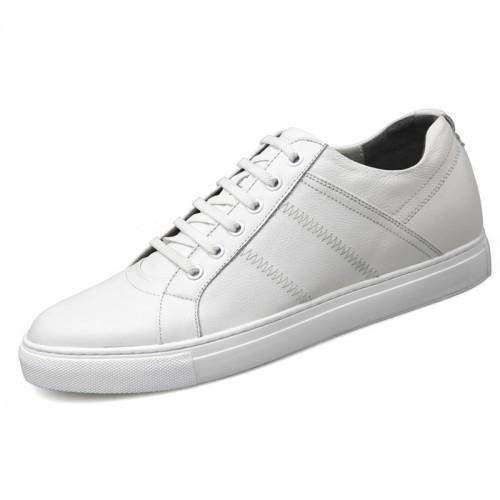 Calfskin Elevator Men Skateboarding Shoes Increase 2.6inch / 6.5cm Black Business Casual Shoes