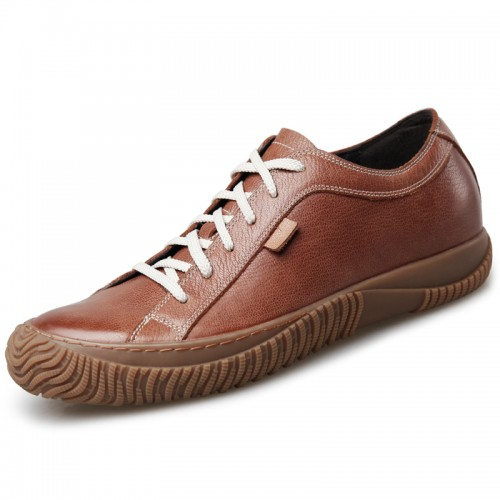 Retro Men Elevator Casual Shoes Add Height 2.6inch / 6.5cm Brown Soft Cowhide Grain Leather Shoes