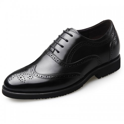 Taller Brogue Oxford Shoes for Men Height 2.6inch / 6.5cm Black Leather Lace Up Wing Tip Formal Shoes