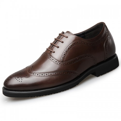 Taller Men Brogue Oxfords Shoes Increase 2.6inch / 6.5cm Brown Leather Lace Up Wing Tip Formal Shoes