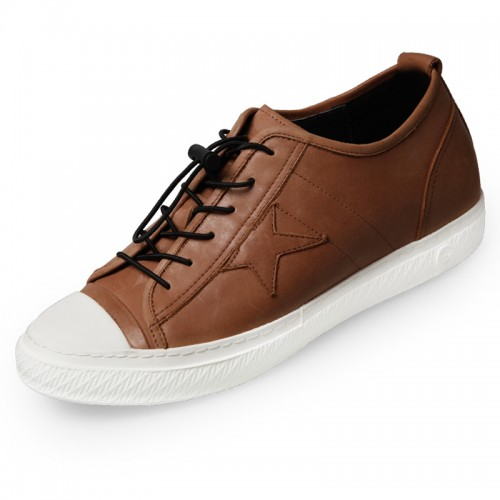 Retro Elevator Casual Shoes 2.4inch / 6cm Yellow-Brown Cap Toe Altitude Shoes