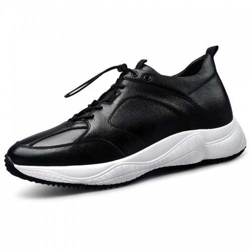 Black-white Men Cowhide Elevator Sneakers Height 2.6inch / 6.5cm Classic Casual Sports Shoes
