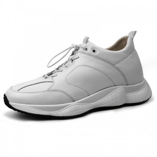 White Cowhide Men Elevator Sneakers Increase 2.6inch / 6.5cm Classic Casual Sports Shoes