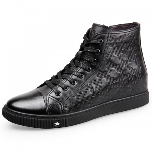 high top calfskin elevator sneaker shoes for men