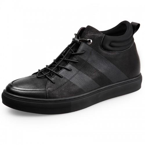 Calfskin Fashion Sneakers for men Add taller high top elevator skateboard shoes