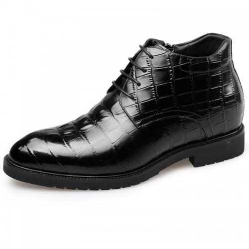 Elevator Dress Boots for men taller Black lace up formal boot
