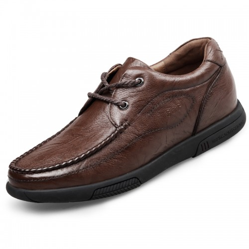 Soft Calfskin Leather Casual Wide Elevator Shoes for Men Add Taller