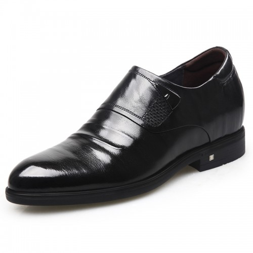 Embossed Stripe Zip Elevator Dress Shoes for Men Taller 2.6inch / 6.5cm Black Slip On Heel Lifts Formal Shoes