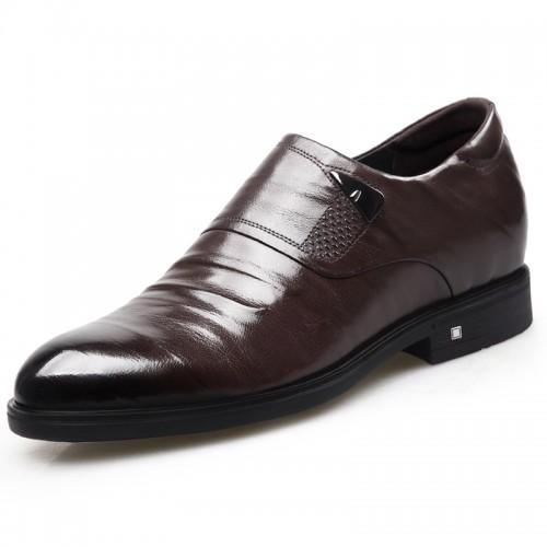 Embossed Stripe Zip Elevator Formal Shoes for Men Height 2.6inch / 6.5cm Brown Slip On Heel Lifts Dress Shoes