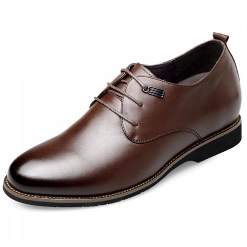 Brown Hidden Heel Plain Toe Oxford for Men Add Height 2.6inch