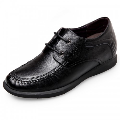 Stitched Soft Calf Leather Elevator Business Casual Shoes for men