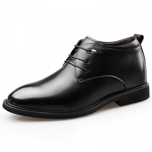 Black Taller Plain Toe Tuxedo Shoes Height 2.6inch / 6.5cm Hidden Lift Groom Wedding Shoes