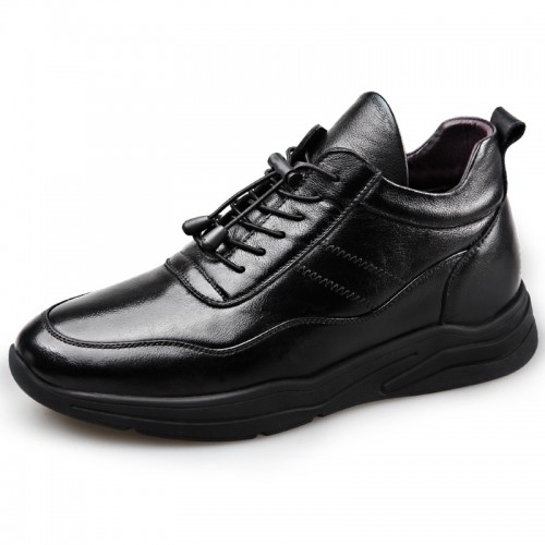 Warm Elevator Casual Shoes for Men Increase 2.4inch / 6cm Cotton Lining Cowhide Leather Shoes
