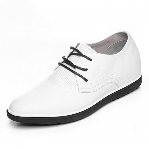 Elegant white men elevator wedding shoes 6cm / 2.36inch lace up taller oxfords