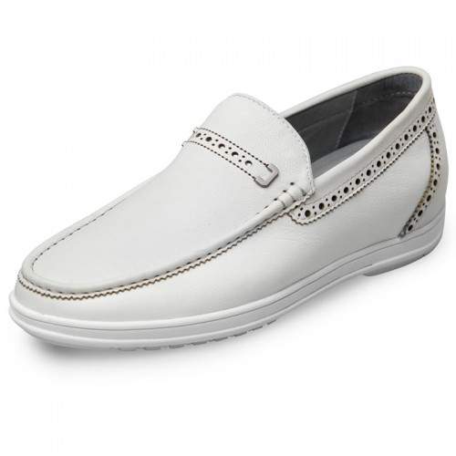 2017 Classic Carve Leather Elevator Business Loafers 2.4inch / 6cm White Height Increasing Shoes