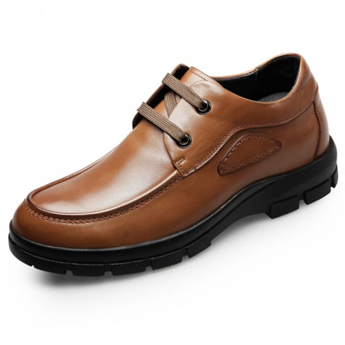 Quality heighten business casual shoes 2.6inch / 6.5cm Yellow-Brown