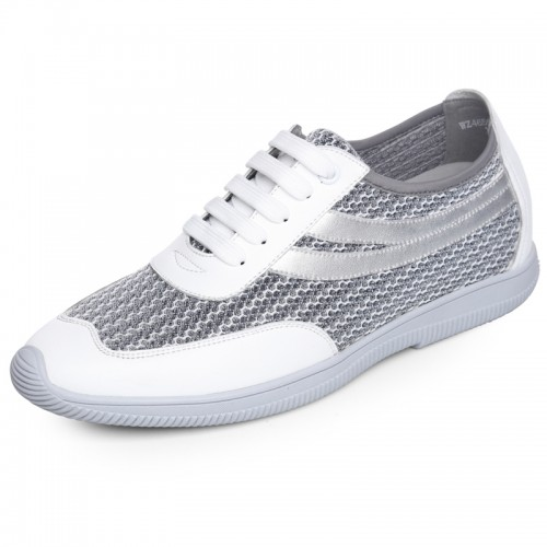 Ultra light elevator lace up casual shoes 6cm / 2.36inch breathable taller sneakers