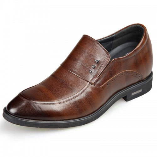 Embossed stripe slip on hidden heel dress loafers 2.6inch / 6.5cm
