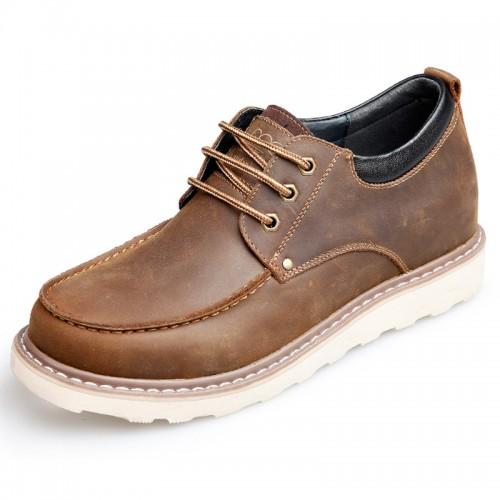 Mature elevator men work shoes 2.75inch / 7cm khaki spacious toe casual shoes