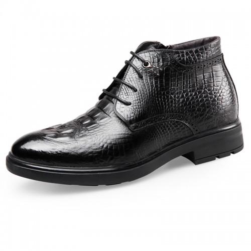 Croc Print Elevator Dress Shoes 6.5cm / 2.6inch Lace Up Taller Business Shoes