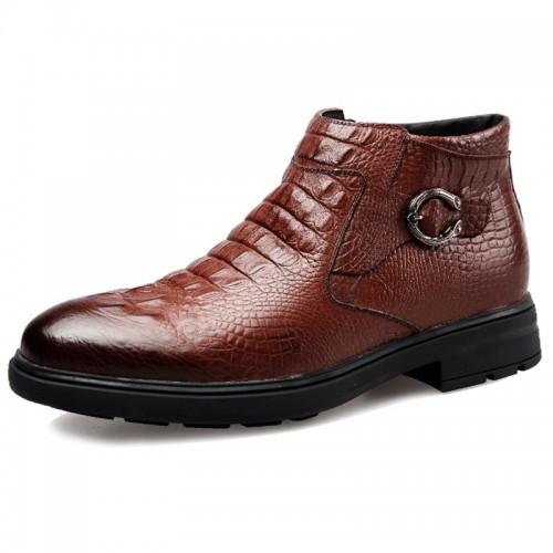 Croc Print Elevator Dress Loafer 6.5cm / 2.6inch Side Zip Taller Business Shoes