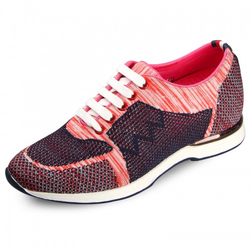 Pink flyknit sneakers make you height 6cm / 2.36inch men sports shoes