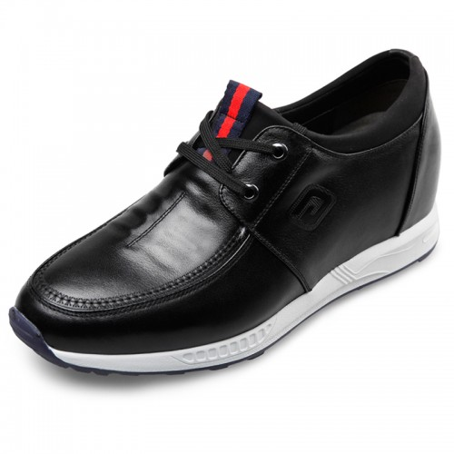 Comfort extra taller casual shoes 3.2inch / 8cm black leather lace up campus shoes
