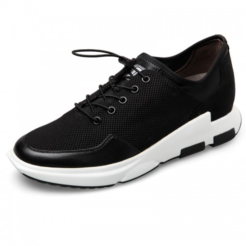 Lightweight casual campus shoes 2.4inch / 6cm lace up elevator mesh sneakers