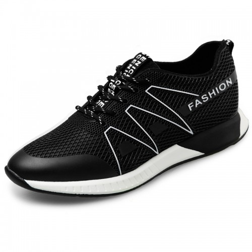 Ultra light elevator lace up sneakers 2.4inch / 6cm black casual outdoor shoes