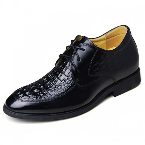 Crocodile grain height increasing wedding shoe 6.5cm / 2.56inch black tall formal dress shoes
