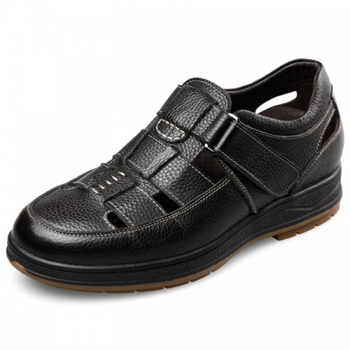 Comfort Taller Fisherman Sandals 2.4inch / 6cm Black Height Elevator Beach Shoes