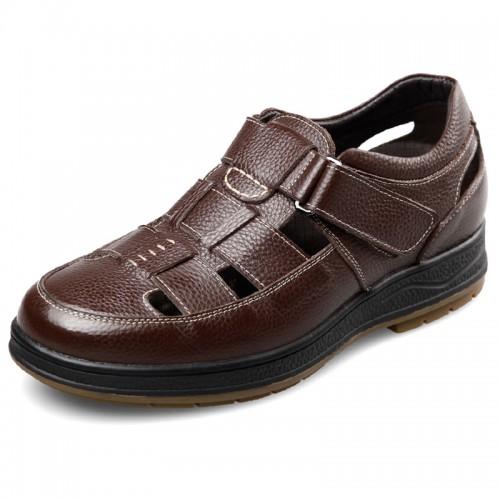 Comfort Taller Fisherman Sandals 2.4inch / 6cm Brown Height Increasing Beach Shoes