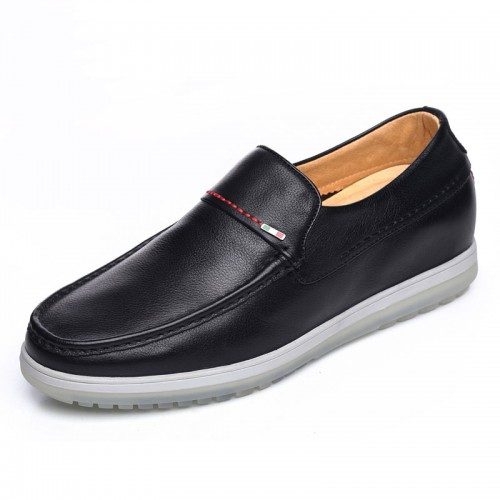 Comfortable elevator doug shoes gain height 6cm / 2.36inch black slip on driving shoes