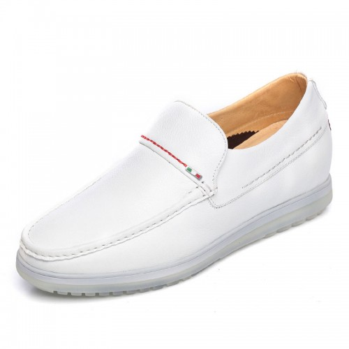 Comfortable hidden heel doug shoes add tall 6cm / 2.36inch white slip on driving shoes