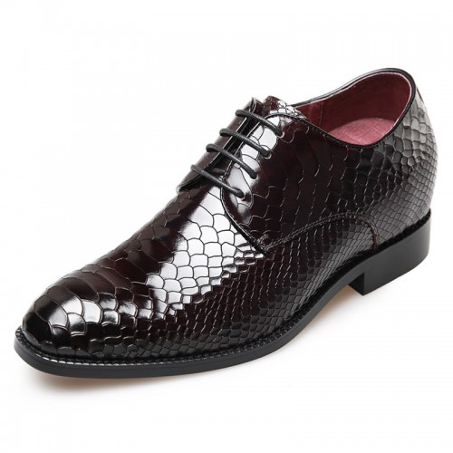 Python embossed men taller party dress shoes 2.6inch / 6.5cm Wine-Red