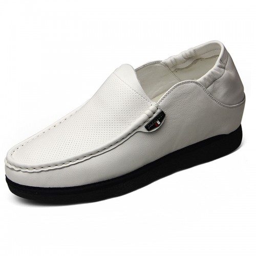 White soft vamp elevator loafers 6cm / 2.36inches breathable gain taller casual shoes