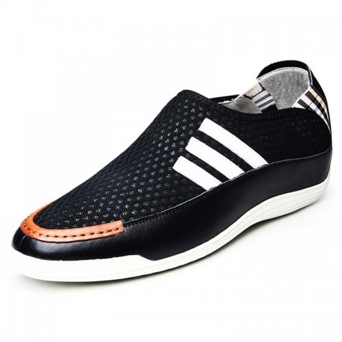Mesh slip on leisure shoes height gain 5.5cm / 2.17inch black elevator joker loafers