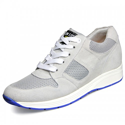 summer height shoes for men increasing 6.5cm / 2.56inches light grey elevator sneakers
