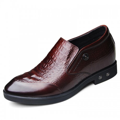 Luxury alligator height formal shoes 6.5cm / 2.56inch brown slip-on tuxedo shoes