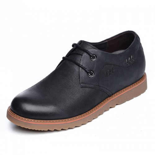 UK spacious toe elevator shoes 6.5cm / 2.56inch black suede leather lace up casual shoes