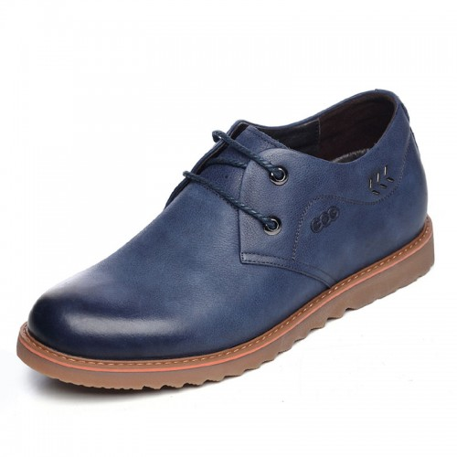 UK spacious toe hidden heel shoes 6.5cm / 2.56inch blue suede leather lace up casual shoes