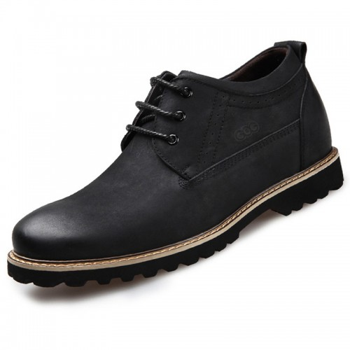 Fashion height tooling shoes with nubuck leather 2.6inch / 6.5cm Black