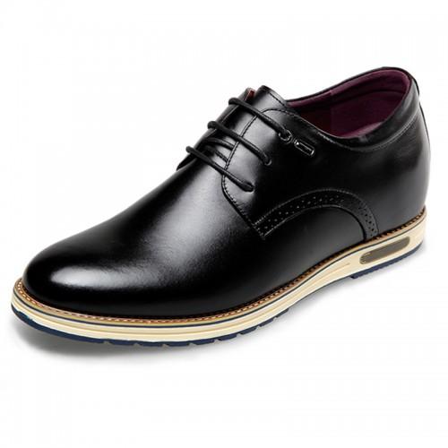Fashion Korean Elevator Formal Shoes 2.4inch / 6cm Black Plain Toe Leather Shoes